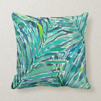 TROPICAL CANOPY Palm Jungle Watercolor Pattern Throw Pillow