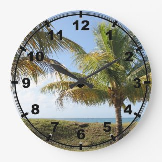 Tropical Caribbean Palm Trees on Tobago Large Clock
