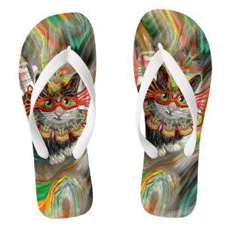 Tropical Carnival Cat Flip Flops