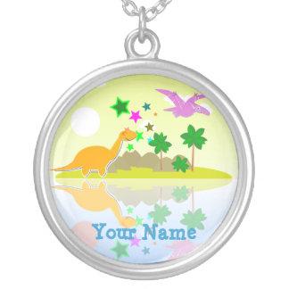 Tropical Cartoon Dinosaurs Island Name Necklace