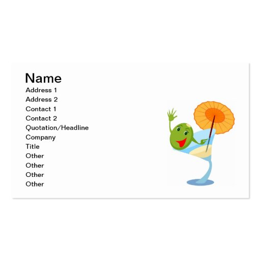 TROPICAL CARTOON MARTINI DRINK UMBRELLA OLIVE Double-Sided STANDARD BUSINESS CARDS (Pack OF 100)