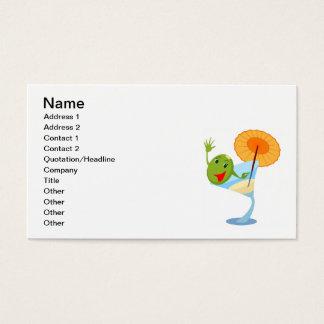 TROPICAL CARTOON MARTINI DRINK UMBRELLA OLIVE BUSINESS CARD