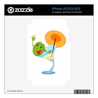 TROPICAL CARTOON MARTINI DRINK UMBRELLA OLIVE DECAL FOR iPhone 3GS