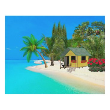 Beach Themed TROPICAL CAT ART WALL PANEL, CUTE CAT AT THE BEACH