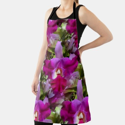 Tropical Cattleya Orchid Flower Apron