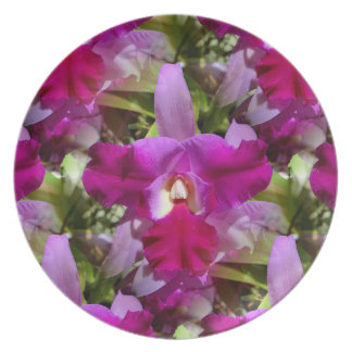 Tropical Cattleya Orchid Flower Melamine Plate