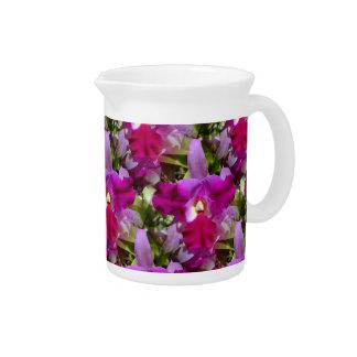 Tropical Cattleya Orchid Flower Beverage Pitcher