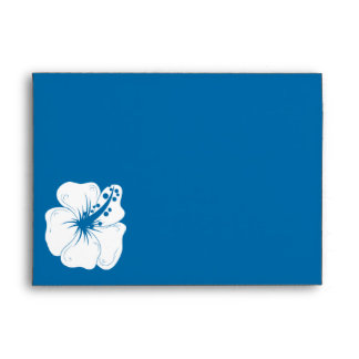 Tropical Cerulean Blue and White Hibiscus Wedding Envelope