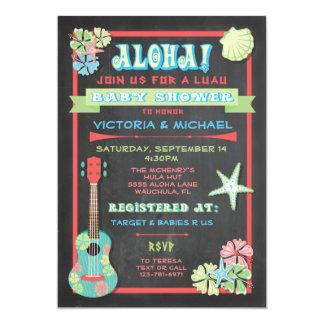tropical chalkboard luau baby shower invitations