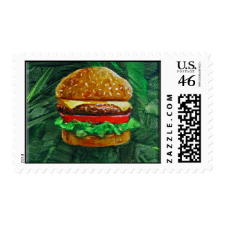 Tropical Cheeseburger Postage Stamp