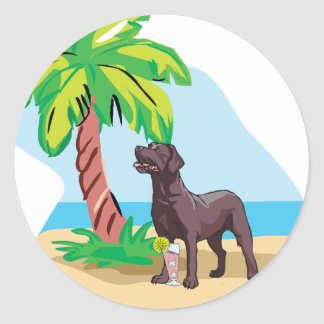 tropical chocolate lab classic round sticker
