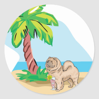tropical chow chow classic round sticker