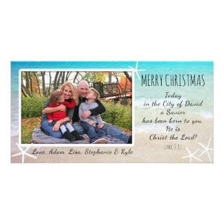 Tropical Christmas Beach Christian Photo Card