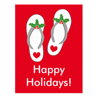 Tropical Christmas beach flip flops postcards
