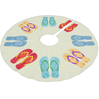 Tropical Christmas Beach Flip Flops Sandals Brushed Polyester Tree Skirt
