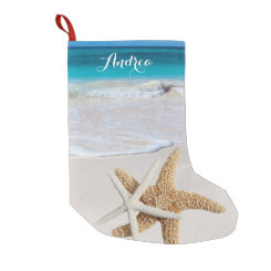 Tropical Christmas Beach Starfish Stocking Small Christmas Stocking