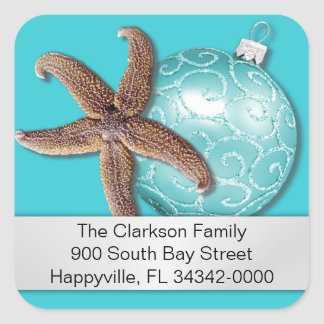 Tropical Christmas Blue Starfish Address Label