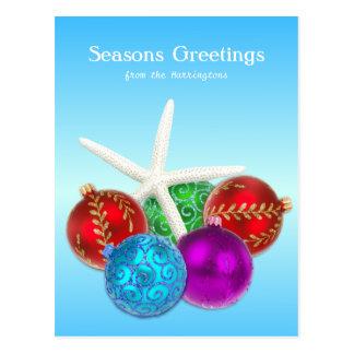 Tropical Christmas Blue Starfish Custom Postcard