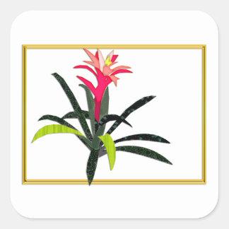 Tropical Christmas Bromeliad Square Sticker