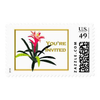 Tropical Christmas Bromeliad Stamp