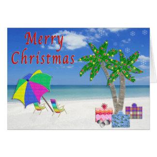 Tropical Christmas Cards with Beach