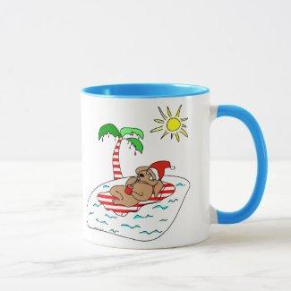 Tropical Christmas Dog Mug