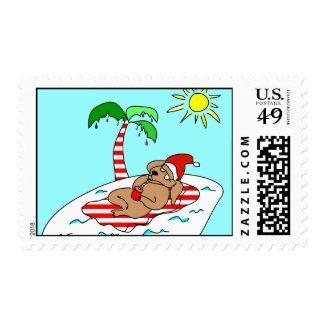 Tropical Christmas Dog Stamps