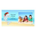 Tropical Christmas Dolphin Family Photo Card.