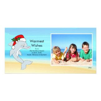 Tropical Christmas Dolphin Family Photo Card. Card
