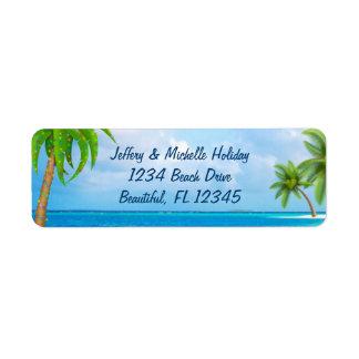 Tropical Christmas Holiday Palm Tree Beach Address Label