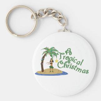 Tropical Christmas Basic Round Button Keychain