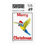Tropical Christmas Macaw Stamp
