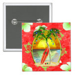 Tropical Christmas Palm Tree 2 Inch Square Button