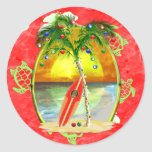 Tropical Christmas Palm Tree Classic Round Sticker at Zazzle