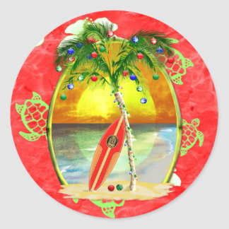 Tropical Christmas Palm Tree Classic Round Sticker