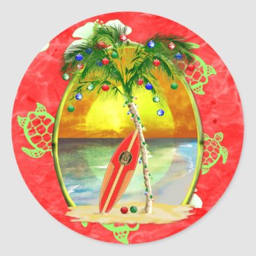 Christmas Themed Tropical Christmas Palm Tree Classic Round Sticker