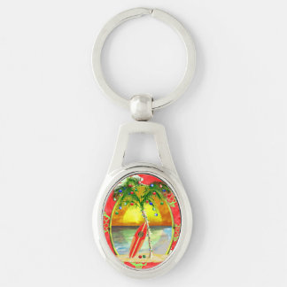 Tropical Christmas Palm Tree Keychain