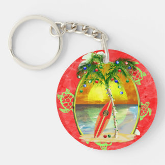 Tropical Christmas Palm Tree Double-Sided Round Acrylic Keychain