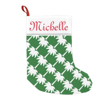 Christmas Themed Tropical Christmas palm tree stocking with name