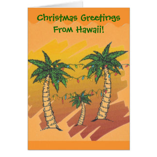 Tropical Christmas Palm Tree Sunny Greeting Card