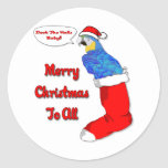 Tropical Christmas Parrot Round Stickers