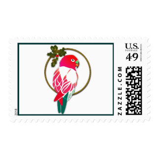 Tropical Christmas Parrot Stamp