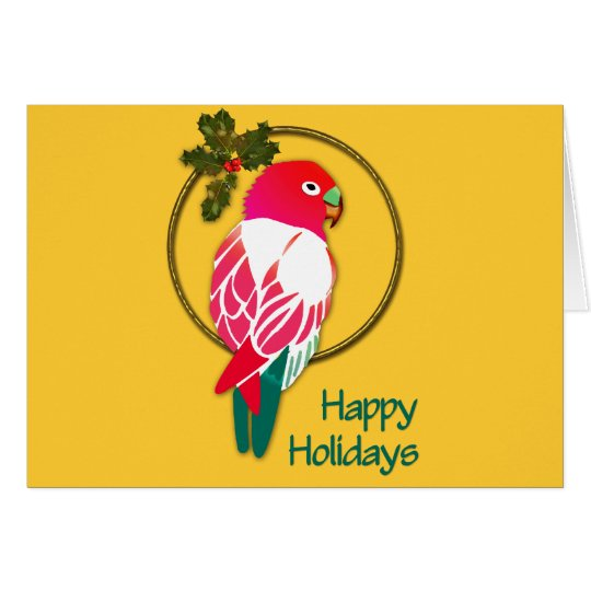 Tropical Christmas Parrot with Holly Card