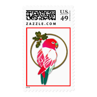 Tropical Christmas Parrot with Holly Postage