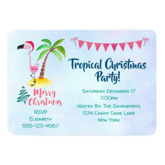 Tropical Christmas Party Pink Flamingo Card