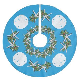 Tropical Christmas Sand Dollars Starfish Teal Brushed Polyester Tree Skirt