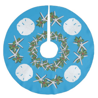 Tropical Christmas Sand Dollars Starfish Teal Brushed Polyester Tree Skirt