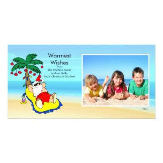 Tropical Christmas Santa Family Photo Card. Card