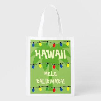 Tropical Christmas shopping bag Mele Kalikimaka Grocery Bag