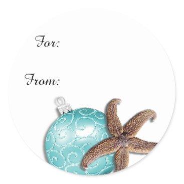 Christmas Themed Tropical Christmas Starfish Gift Stickers